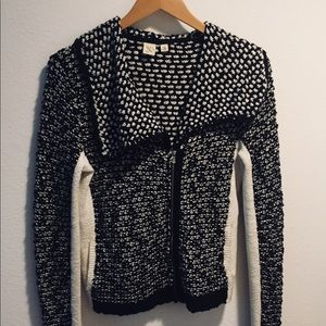 Anthropologie black and white sweater jacket